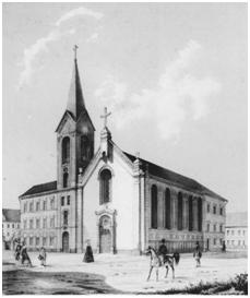 Eine Schwarz-Weiß Abbildung der Heilandskirche aus dem Jahre 1855 (Archive der Heilandskirche)